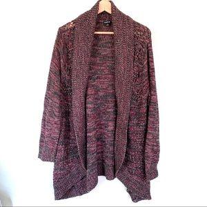 Torrid pink/green open knit cardigan size 2X